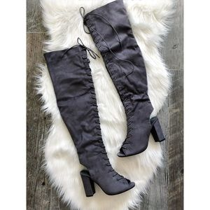 Shoes - Grey Faux Suede Lace Up Over The Knee Sandal Boot
